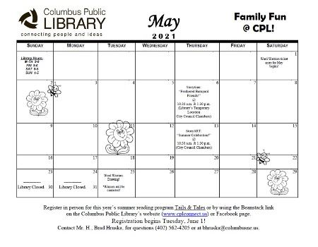 May Childrens Calendar