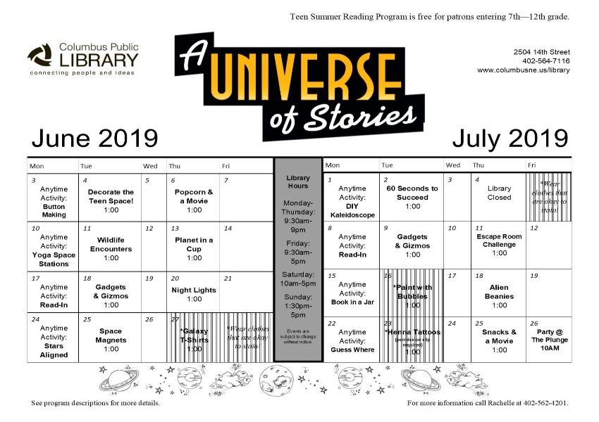teen summer reading calendar